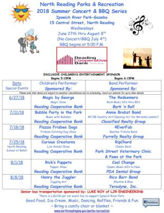 2018 Summer BBQ Concert Series Schedule